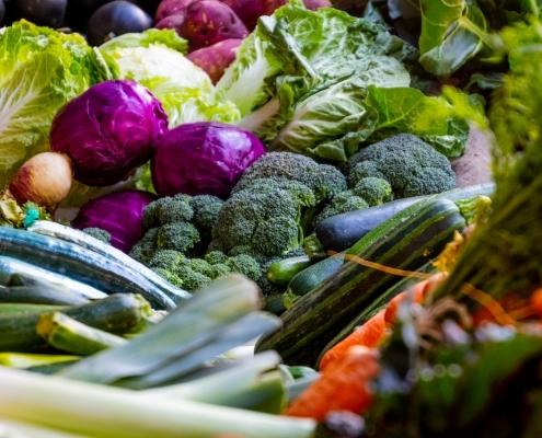 Verschiedene Lebensmittel, welche zu Fabrstoffen verarbeitet werden können.